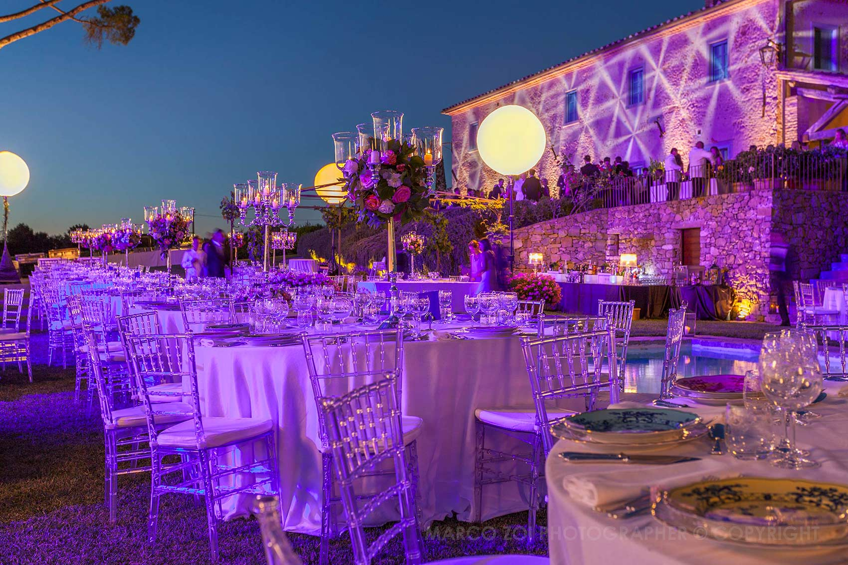 Impianti illuminazione esterni per matrimoni ed eventi service